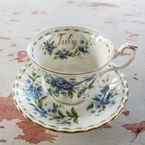 Vintage July Forget-me-not tea cup and saucer